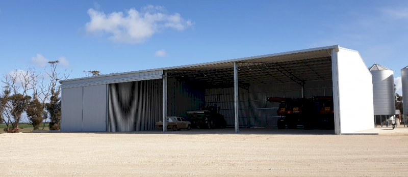 Action Steel Machinery Shed with one-bay enclosed
