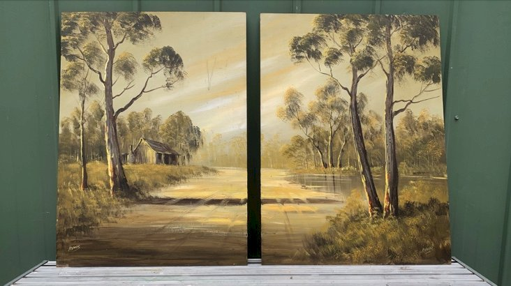 Under Auction - (A151) - Pair Oil Paintings - 2% + GST Buyers Premium On All Lots