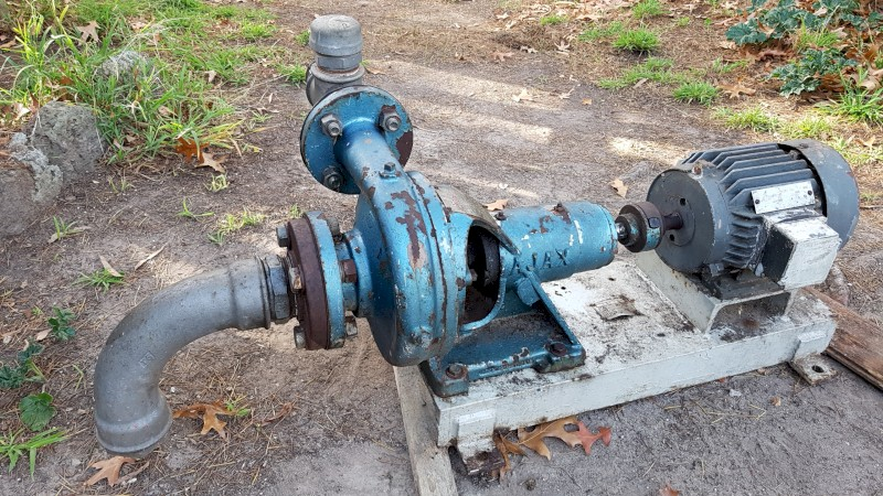 MSL 889 - AJAX CENTRIFUGAL PUMP SET 2KS, SERIES 10143T WITH ELECTRICAL MOTOR FITTED ON A STEEL BASE