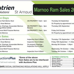 Marnoo Sheep Breeders Inspection and sale day dates